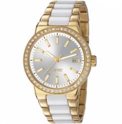 damske zlatene hodinky s keramikou a kamienkami esprit es106052003 ...